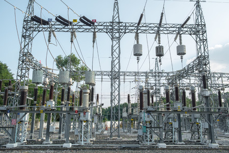 outdoor electricity: high voltage electricity power plant