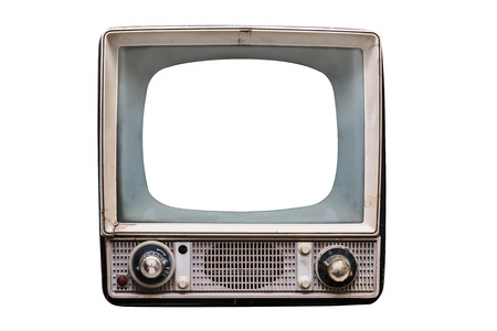 isolated old vintage television with empty screen photo