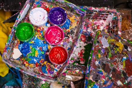 oaken: used paint buckets for artist
