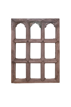 Thai wooden window frame isolate on white by clipping path photo