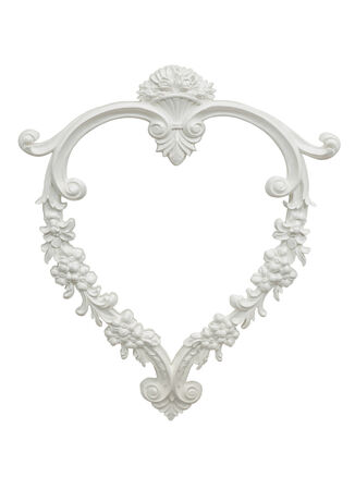 heart shaped vintage plaster photo frame isolated on white background photo