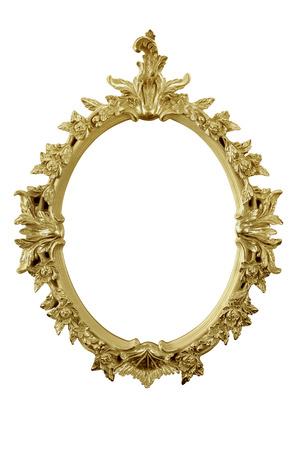mirror frame: golden mirror frame isolated on white with partial remaining reflection