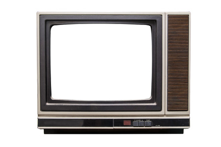 old television: old television isolated on white with copy space in the middle