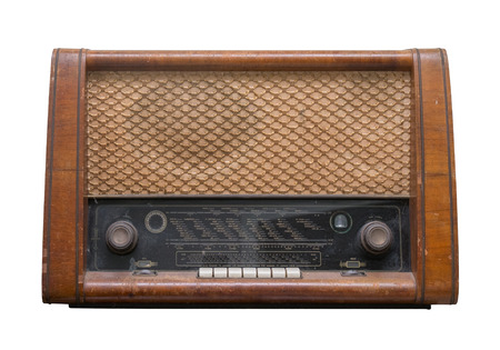 oldie: old radio isolated on white background