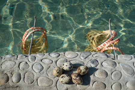 celcius: quails eggs at natural hot spring in Chiangmai, Thailand. With baskets for having the eggs boiled in natural hot spring