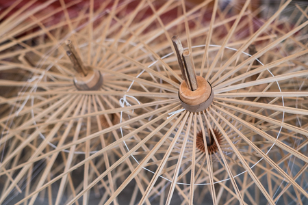 unfinished umbrella at the factory in Bo Sang, Chaingmai photo