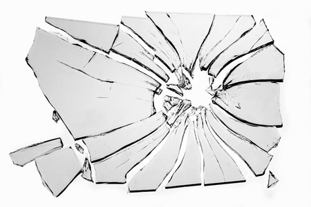 glass panel: broken glass isolated on white background Stock Photo