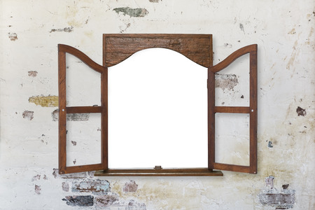 wooden window frame on pastel toned old grungy wall