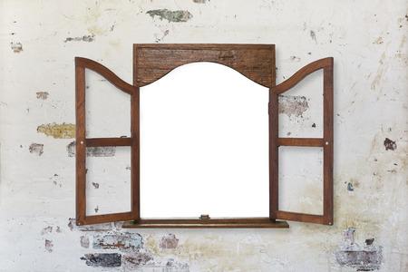 houten raamkozijn op pastel afgezwakt oude grungy muur Stockfoto