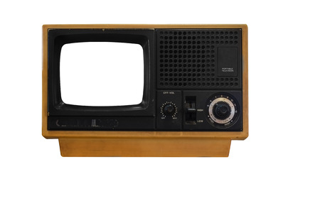 old television isolated on white background photo