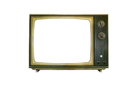 old television isolated on white background photo