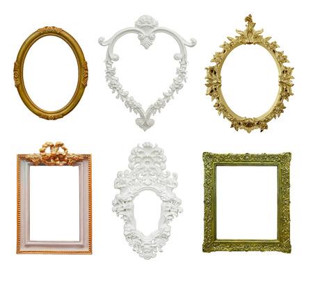 isolated vintage frames on white background photo