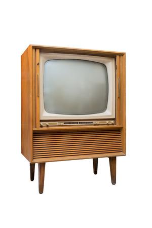 흰색 배경에 오래 된 TV의 이미지를 분리 스톡 콘텐츠
