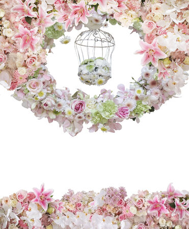 circle of flower with flower in cage in the middle isolate on white photo