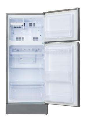 흰색 배경에 격리 된 빈 냉장고 스톡 콘텐츠