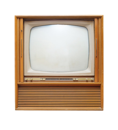old wooden vintage television isolate on white background photo