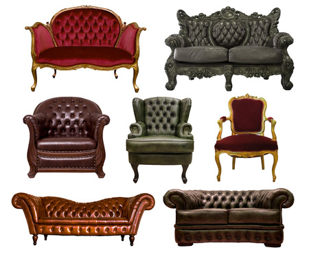 various leather sofas isolated on white background Banque d'images