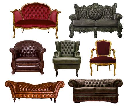 diverse lederen sofa op een witte achtergrond Stockfoto