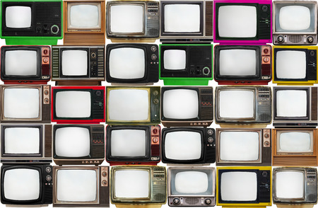 Many old televisions bundled together photo