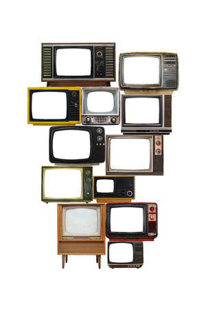 lcd tv: isolated image of many vintage televisions with empty screen glass for text or graphic