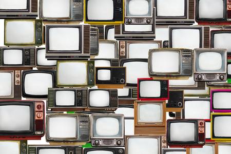 多くの古いテレビを一緒にバンドルされて