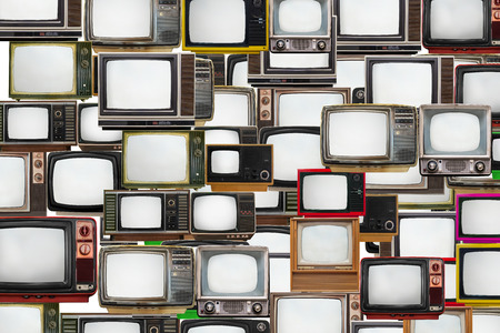 television screen: Many old televisions bundled together