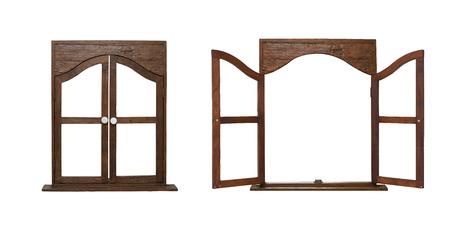 open windows: aislar abrir y cerrar la ventana de madera en el fondo blanco