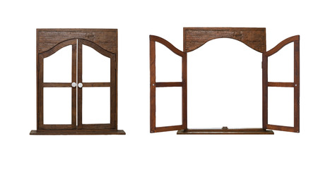 finestra: isolare aprire e chiudere la finestra di legno su sfondo bianco Archivio Fotografico