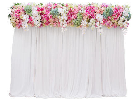 Wedding backdrop with flower on top part isolated on white background Standard-Bild - 111237066