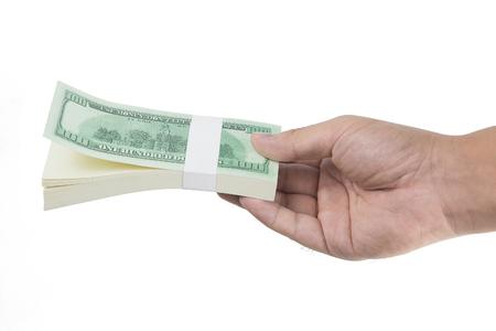 Hand holding fake money isolated on white background Standard-Bild - 111237067