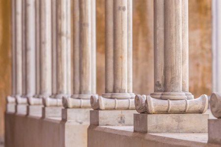 roman pillar: ready made instant concrete pillar line up roman style Stock Photo