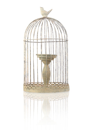 candle holders: bird cage shaped candle holder Stock Photo