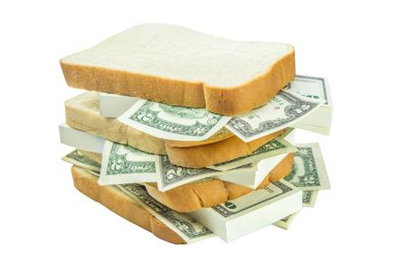geld sandwich isoleren op witte achtergrond Stockfoto