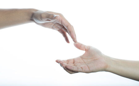 giving and receiving hands on white shinning white background photo