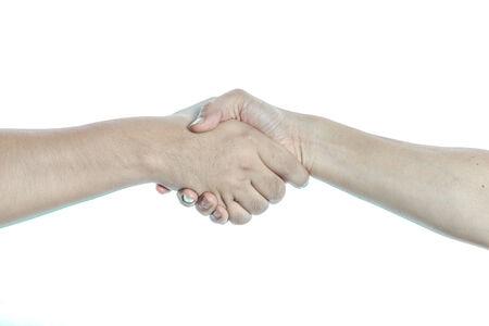 Händeschütteln auf weißem Hintergrund isolieren
