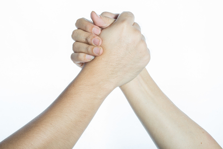 convergence: isolate two hands holding on another, signal of collaboration