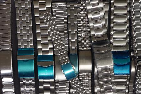 Spare watch silver metallic straps Reklamní fotografie