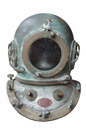 Old rusty vintage diver metal helmet isolated on white background with clipping path Foto de archivo