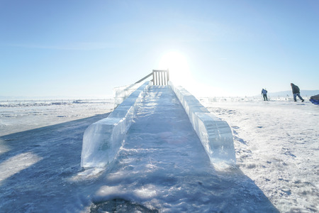 Slider made of ice at Lake Baikal, Russia. Activities on lake during winter