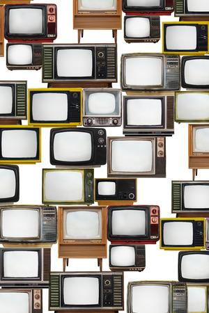 Many ole retro TVs on white background