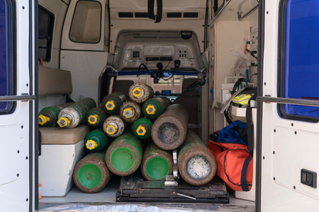 Oxygen tanks in the back of ambulance van