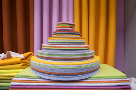 Colorful Polyester Felt stacked in cone shape in window display