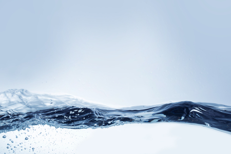 Still life photography bubbles in waving water surface, vignette added