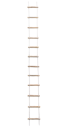 Long rope wooden step ladder isolated on white background Stok Fotoğraf