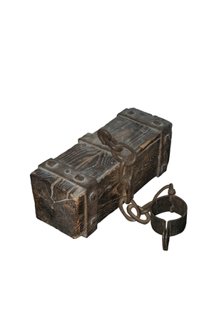 Prisoner's vintage leg lock with wooden weight log isolated with clipping path on white background
