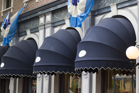 Exterior window awnings outside the store