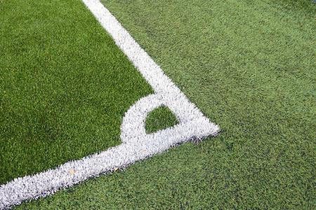 Corner of soccer field made of artificial grass