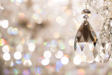 Close up image of crystal on chandelier with bokeh background Banco de Imagens