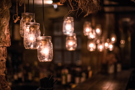 Hanging lamp in jars. Interior decoration
