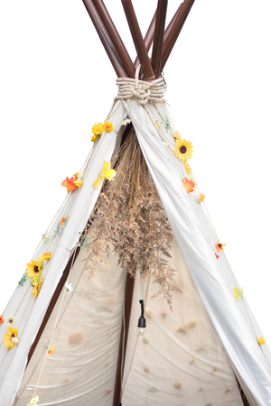 Close-up Tee Pee tent on white background 免版税图像